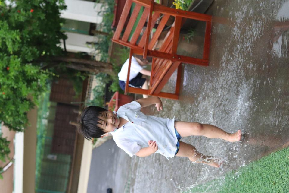 水たまりで遊んでいる園児