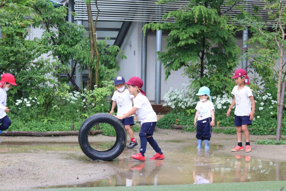 タイヤを転がして遊んでいる園児